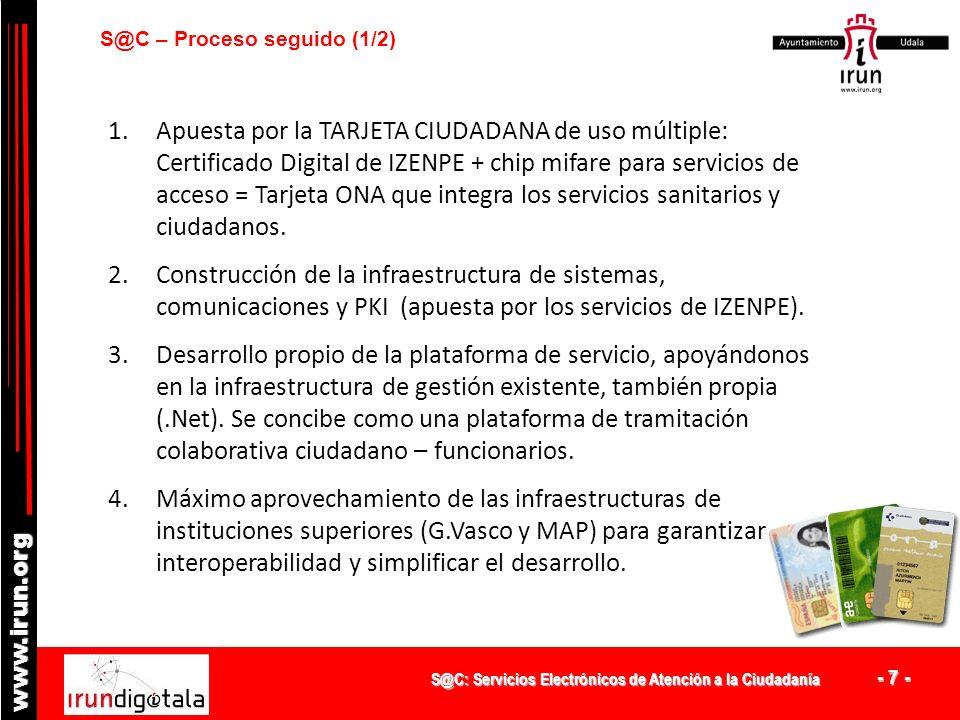 S@C: Servicios Electrónicos de Atención a la Ciudadanía - 7 - www.irun.org S@C – Proceso seguido (1/2) 1.Apuesta por la TARJETA CIUDADANA de uso múltiple: Certificado Digital de IZENPE + chip mifare para servicios de acceso = Tarjeta ONA que integra los servicios sanitarios y ciudadanos.