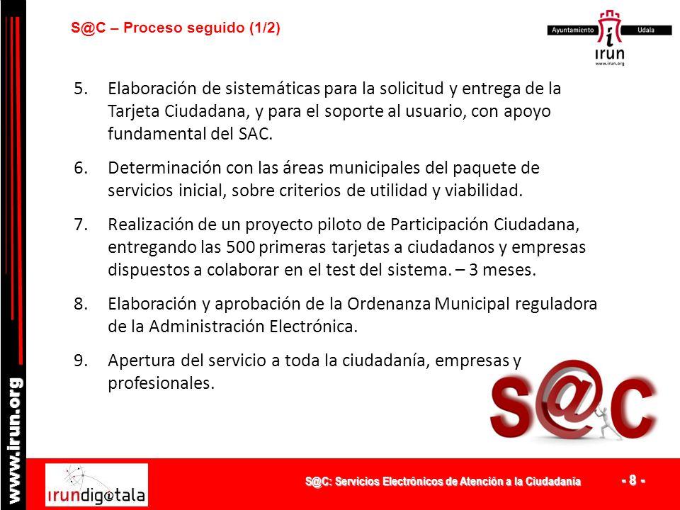 S@C: Servicios Electrónicos de Atención a la Ciudadanía - 8 - www.irun.org S@C – Proceso seguido (1/2) 5.Elaboración de sistemáticas para la solicitud y entrega de la Tarjeta Ciudadana, y para el soporte al usuario, con apoyo fundamental del SAC.