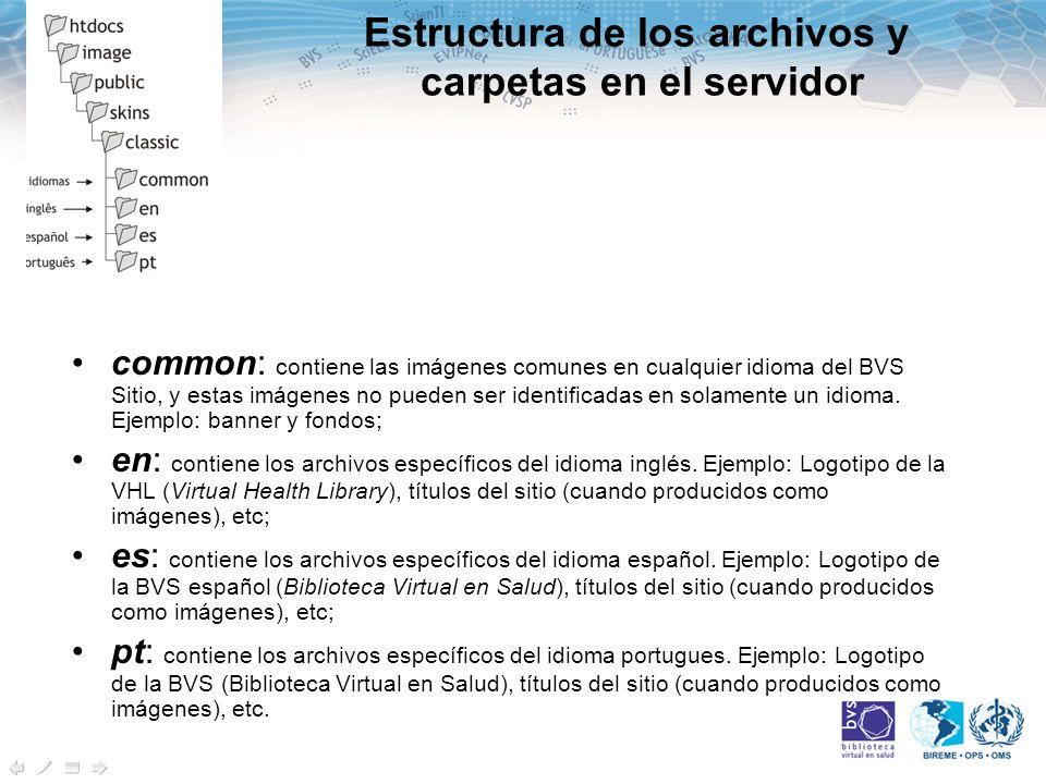 Estructura de los archivos y carpetas en el servidor common: contiene las imágenes comunes en cualquier idioma del BVS Sitio, y estas imágenes no pueden ser identificadas en solamente un idioma.