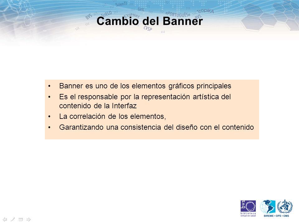 Cambio del Banner Banner es uno de los elementos gráficos principales Es el responsable por la representación artística del contenido de la Interfaz La correlación de los elementos, Garantizando una consistencia del diseño con el contenido