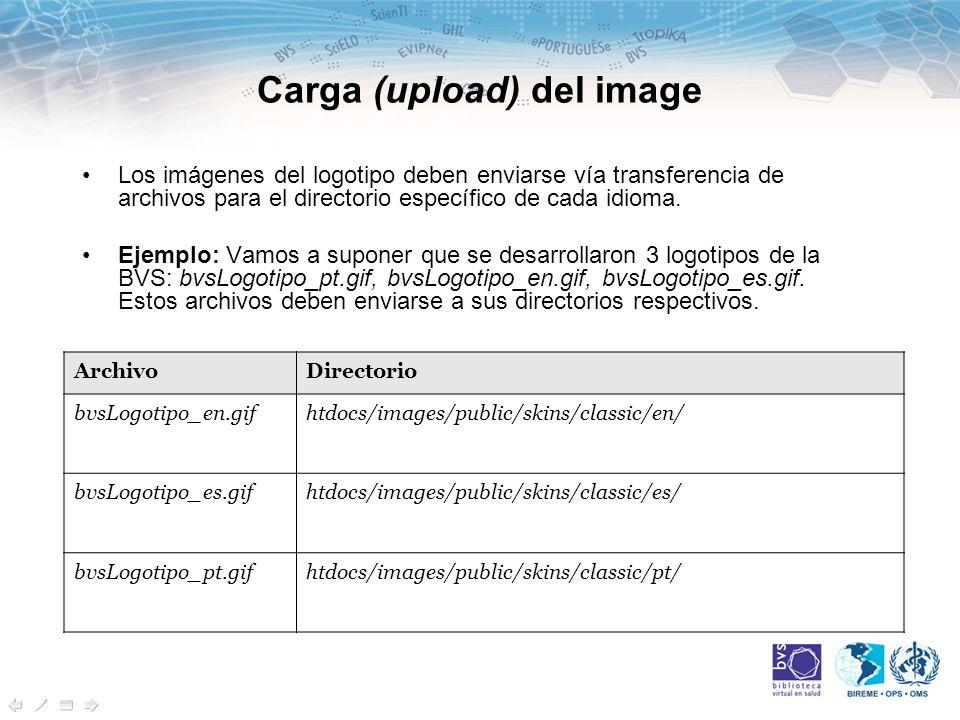 Carga (upload) del image Los imágenes del logotipo deben enviarse vía transferencia de archivos para el directorio específico de cada idioma.