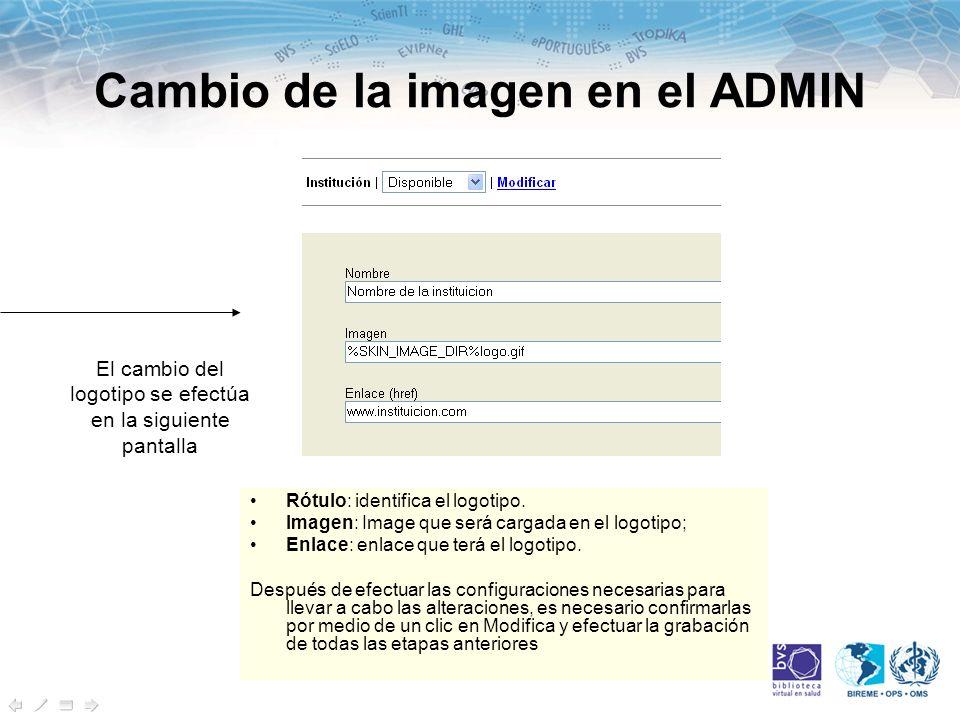 Cambio de la imagen en el ADMIN Rótulo: identifica el logotipo.