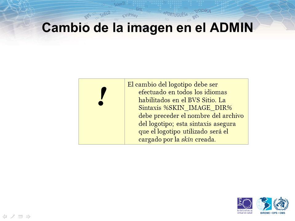 Cambio de la imagen en el ADMIN .