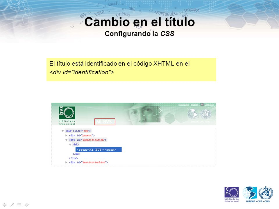 Cambio en el título Configurando la CSS El título está identificado en el código XHTML en el