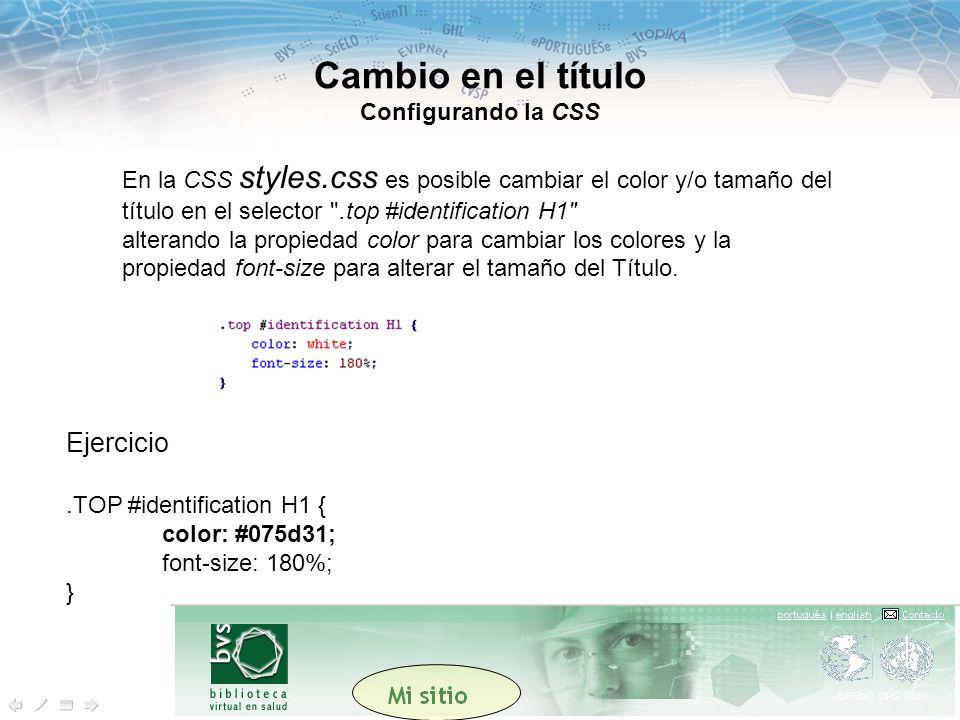En la CSS styles.css es posible cambiar el color y/o tamaño del título en el selector .top #identification H1 alterando la propiedad color para cambiar los colores y la propiedad font-size para alterar el tamaño del Título.