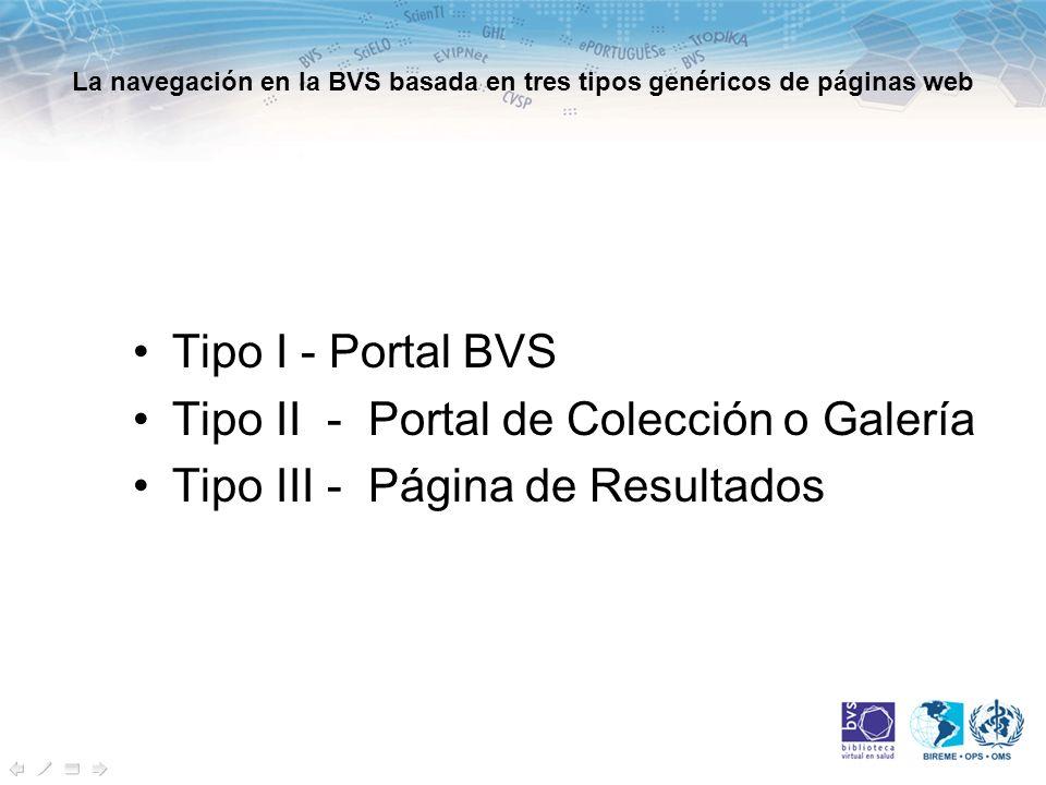 Tipo I o Portal BVS Página web que opera el acceso a las colecciones de fuentes de información de dos o más tipos.
