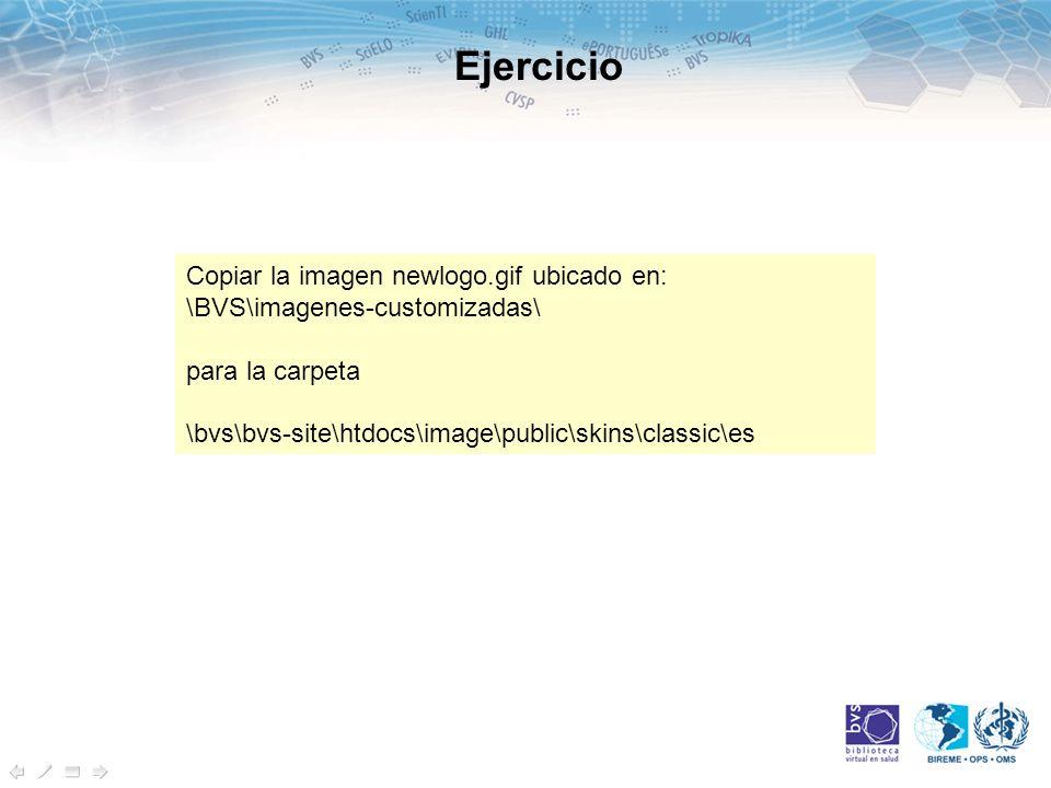 Copiar la imagen newlogo.gif ubicado en: \BVS\imagenes-customizadas\ para la carpeta \bvs\bvs-site\htdocs\image\public\skins\classic\es Ejercicio