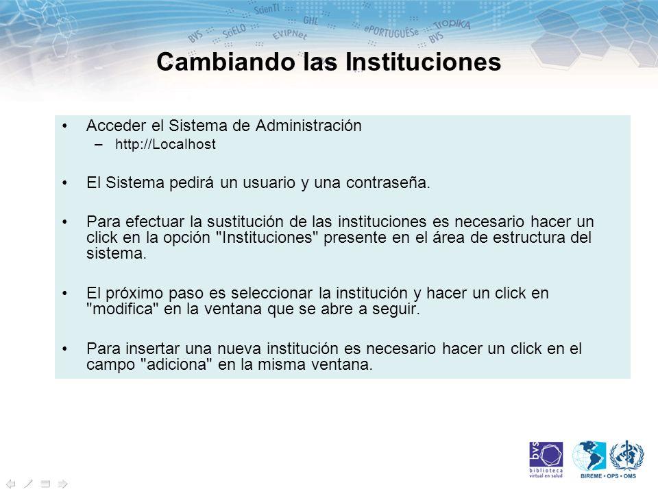 Cambiando las Instituciones Acceder el Sistema de Administración –http://Localhost El Sistema pedirá un usuario y una contraseña.