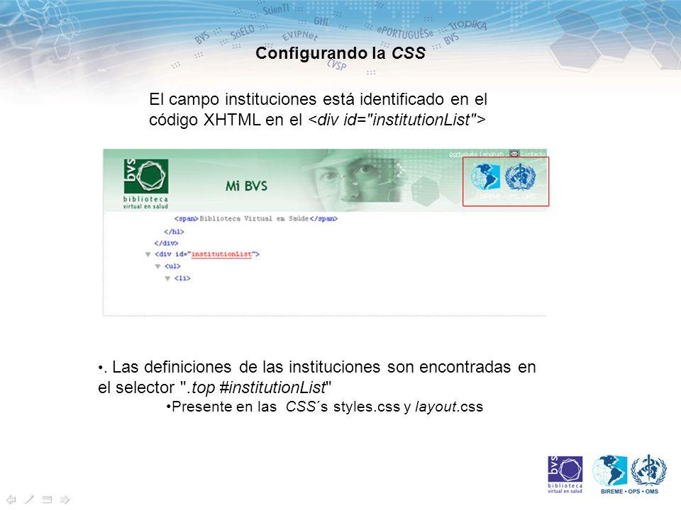 Configurando la CSS El campo instituciones está identificado en el código XHTML en el.