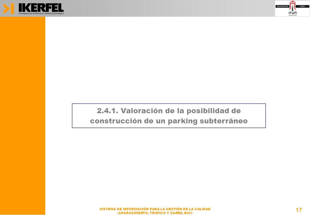 17 SISTEMA DE INFORMACIÓN PARA LA GESTIÓN DE LA CALIDAD -APARCAMIENTO, TRÁFICO Y CARRIL BICI- 2.4.1.