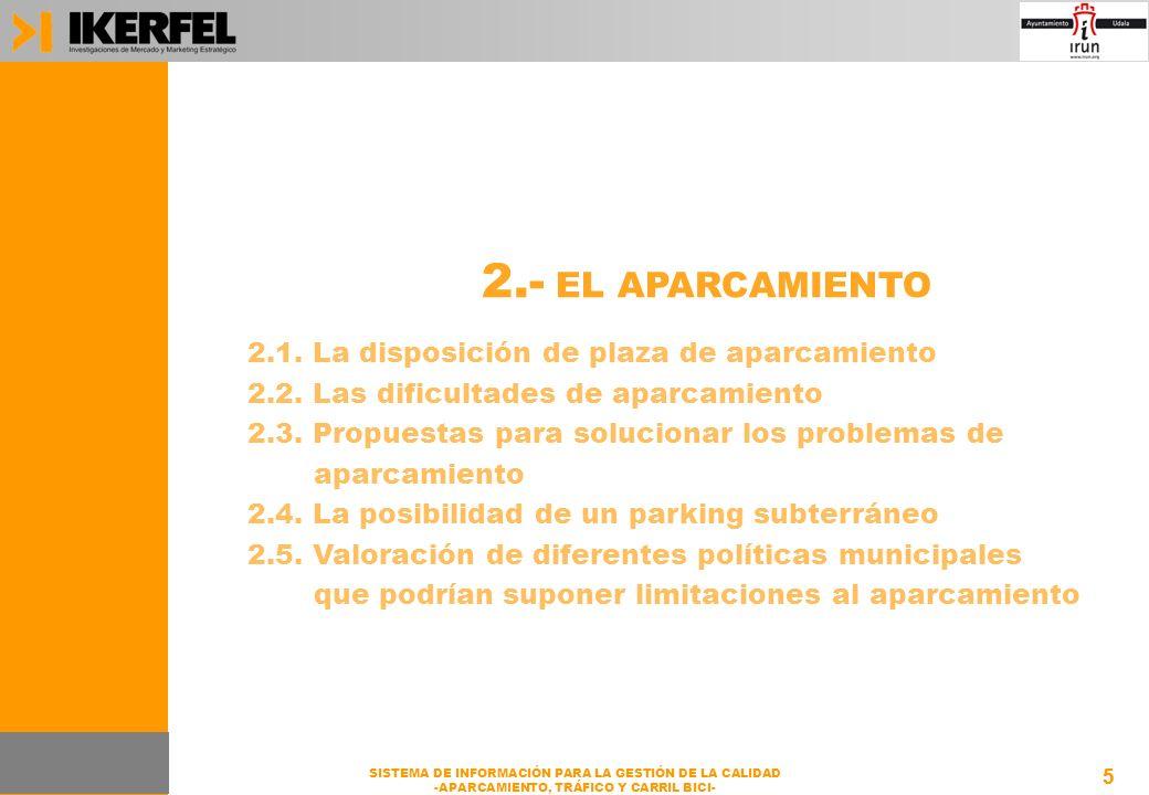 5 SISTEMA DE INFORMACIÓN PARA LA GESTIÓN DE LA CALIDAD -APARCAMIENTO, TRÁFICO Y CARRIL BICI- 5 2.- EL APARCAMIENTO 2.1.