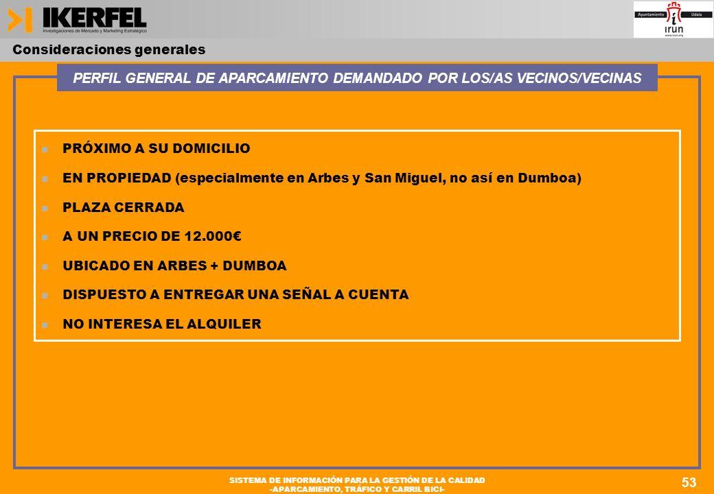 53 SISTEMA DE INFORMACIÓN PARA LA GESTIÓN DE LA CALIDAD -APARCAMIENTO, TRÁFICO Y CARRIL BICI- n PRÓXIMO A SU DOMICILIO n EN PROPIEDAD (especialmente en Arbes y San Miguel, no así en Dumboa) n PLAZA CERRADA n A UN PRECIO DE 12.000 n UBICADO EN ARBES + DUMBOA n DISPUESTO A ENTREGAR UNA SEÑAL A CUENTA n NO INTERESA EL ALQUILER PERFIL GENERAL DE APARCAMIENTO DEMANDADO POR LOS/AS VECINOS/VECINAS Consideraciones generales 53 SISTEMA DE INFORMACIÓN PARA LA GESTIÓN DE LA CALIDAD -APARCAMIENTO, TRÁFICO Y CARRIL BICI-