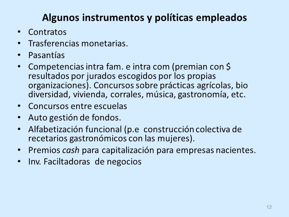 12 Algunos instrumentos y políticas empleados Contratos Trasferencias monetarias.
