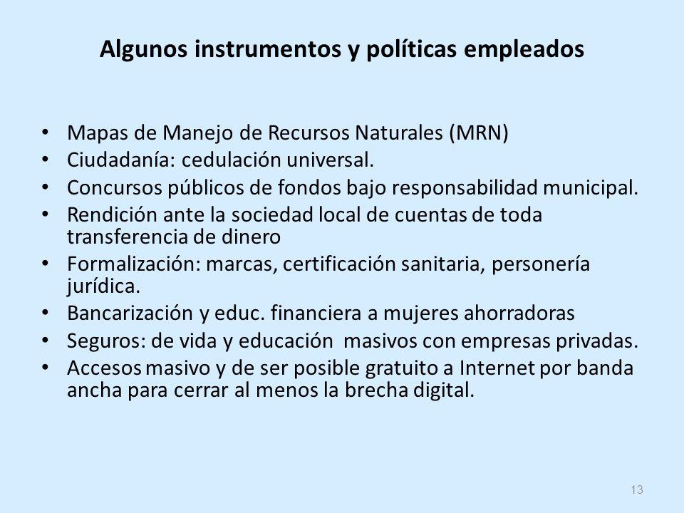 13 Algunos instrumentos y políticas empleados Mapas de Manejo de Recursos Naturales (MRN) Ciudadanía: cedulación universal.