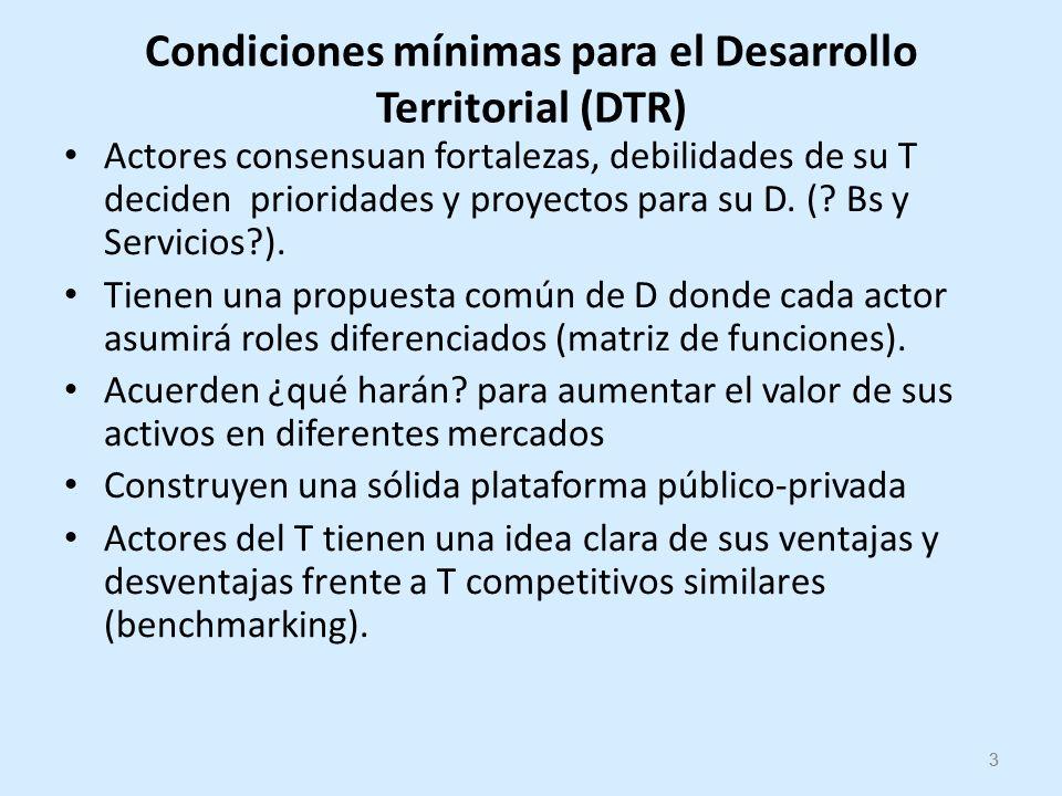 3 Condiciones mínimas para el Desarrollo Territorial (DTR) Actores consensuan fortalezas, debilidades de su T deciden prioridades y proyectos para su D.