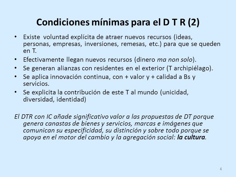 4 Condiciones mínimas para el D T R (2) Existe voluntad explícita de atraer nuevos recursos (ideas, personas, empresas, inversiones, remesas, etc.) para que se queden en T.