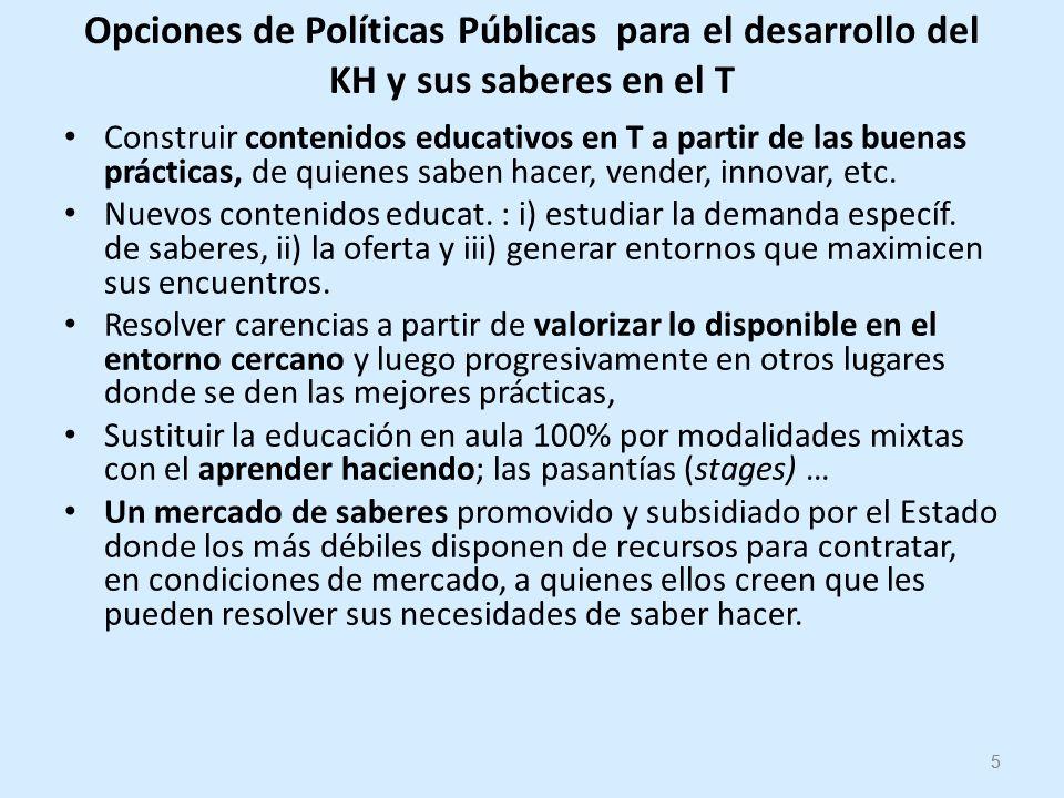 5 Opciones de Políticas Públicas para el desarrollo del KH y sus saberes en el T Construir contenidos educativos en T a partir de las buenas prácticas, de quienes saben hacer, vender, innovar, etc.