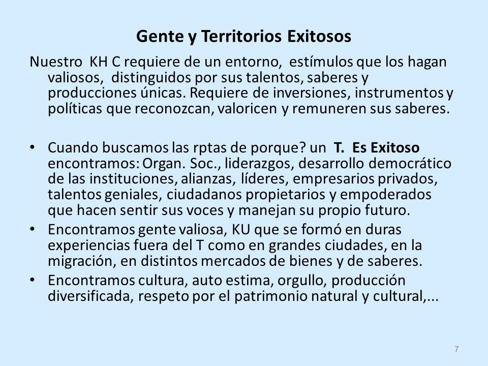 7 Gente y Territorios Exitosos Nuestro KH C requiere de un entorno, estímulos que los hagan valiosos, distinguidos por sus talentos, saberes y producciones únicas.
