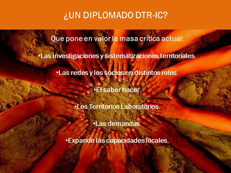 AMPLIA CONVOCATORIA Actores locales interesados(as) en potenciar sus capacidades para impulsar o mejorar propuestas de DTR-IC innovadoras que mejoren las condiciones sociales y económicas de sus territorios.