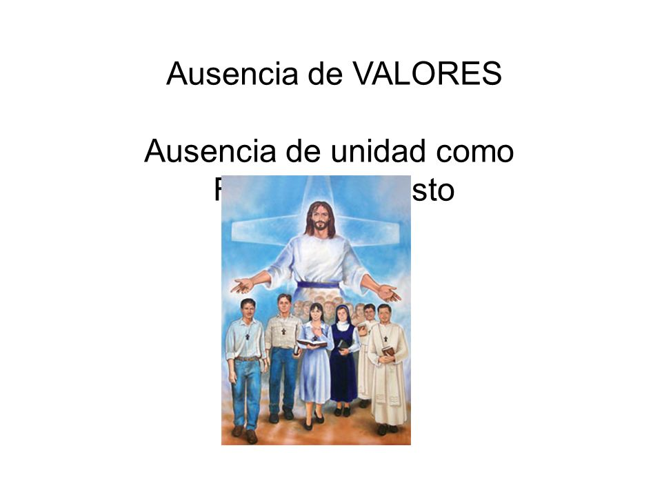 Ausencia de VALORES Ausencia de unidad como Familia en Cristo