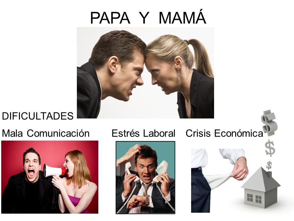 PAPA Y MAMÁ DIFICULTADES Mala Comunicación Estrés Laboral Crisis Económica