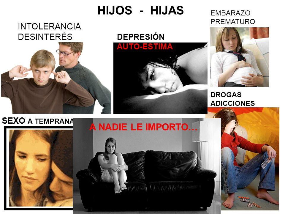 HIJOS - HIJAS INTOLERANCIA DESINTERÉS EMBARAZO PREMATURO DROGAS ADICCIONES SEXO A TEMPRANA EDAD DEPRESIÓN AUTO-ESTIMA A NADIE LE IMPORTO…