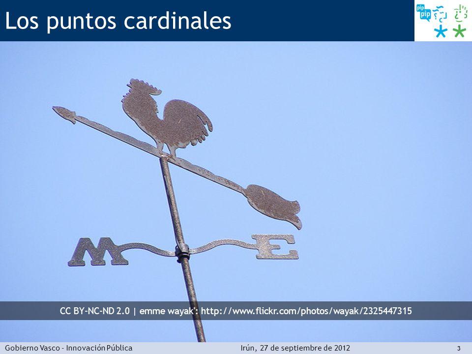 Gobierno Vasco - Innovación PúblicaIrún, 27 de septiembre de 2012 4 Los puntos cardinales El rumbo que hemos seguido ordenar la trastienda de la disponibilidad al uso predicar con el ejemplo administraciones en red 1 2 3 4