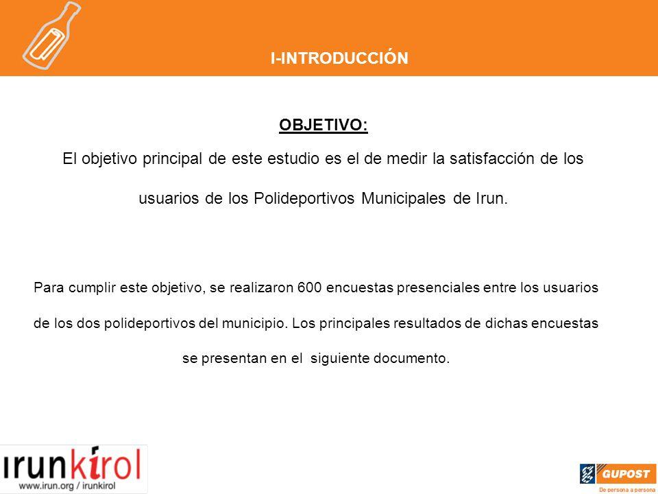 I-INTRODUCCIÓN OBJETIVO: El objetivo principal de este estudio es el de medir la satisfacción de los usuarios de los Polideportivos Municipales de Irun.