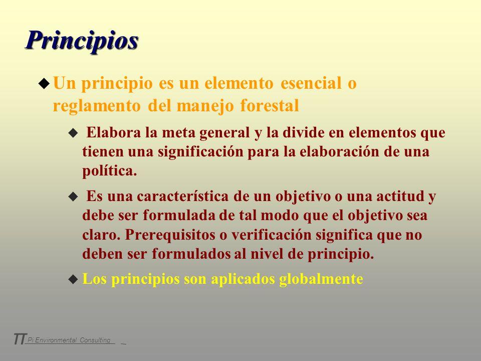 Pi Environmental Consulting π Principios u Un principio es un elemento esencial o reglamento del manejo forestal u Elabora la meta general y la divide