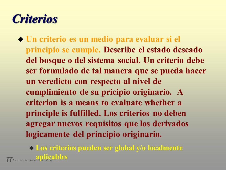 Pi Environmental Consulting π Criterios u Un criterio es un medio para evaluar si el principio se cumple. Describe el estado deseado del bosque o del