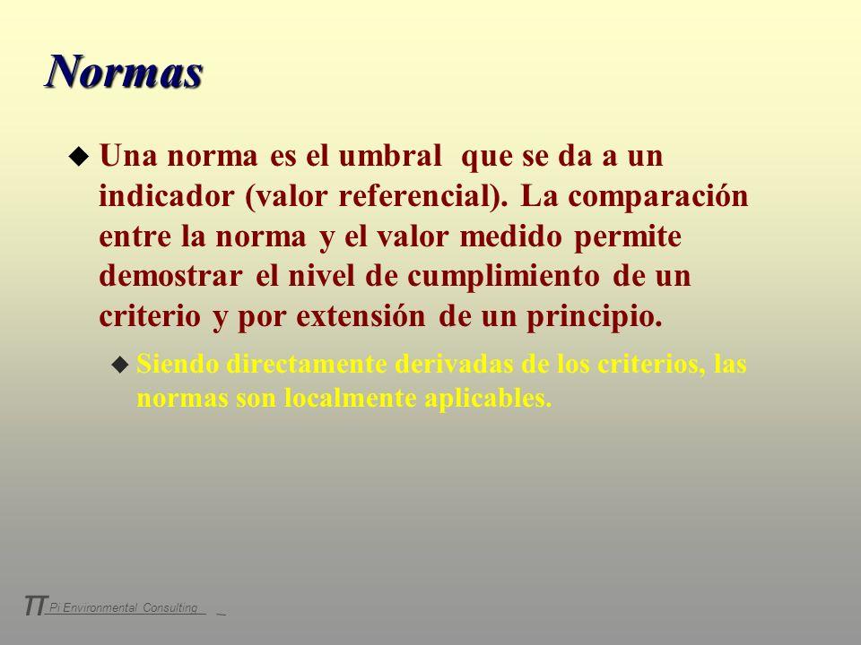 Pi Environmental Consulting π Normas u Una norma es el umbral que se da a un indicador (valor referencial). La comparación entre la norma y el valor m