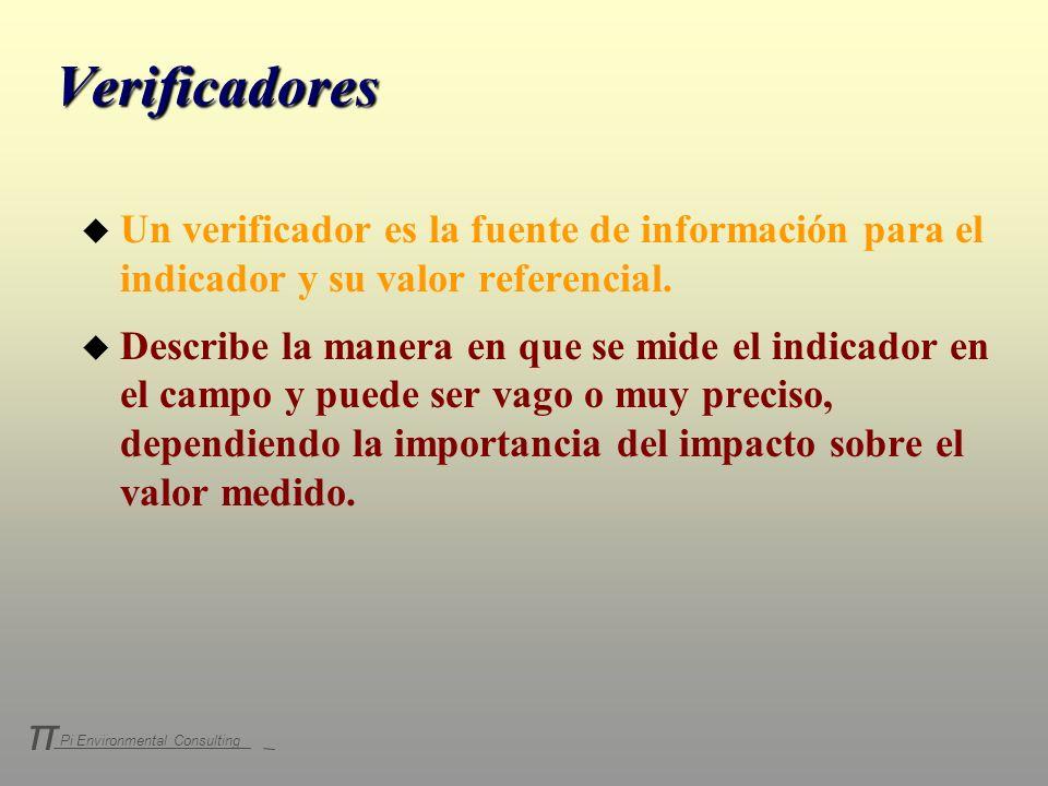 Pi Environmental Consulting π Verificadores u Un verificador es la fuente de información para el indicador y su valor referencial. u Describe la maner