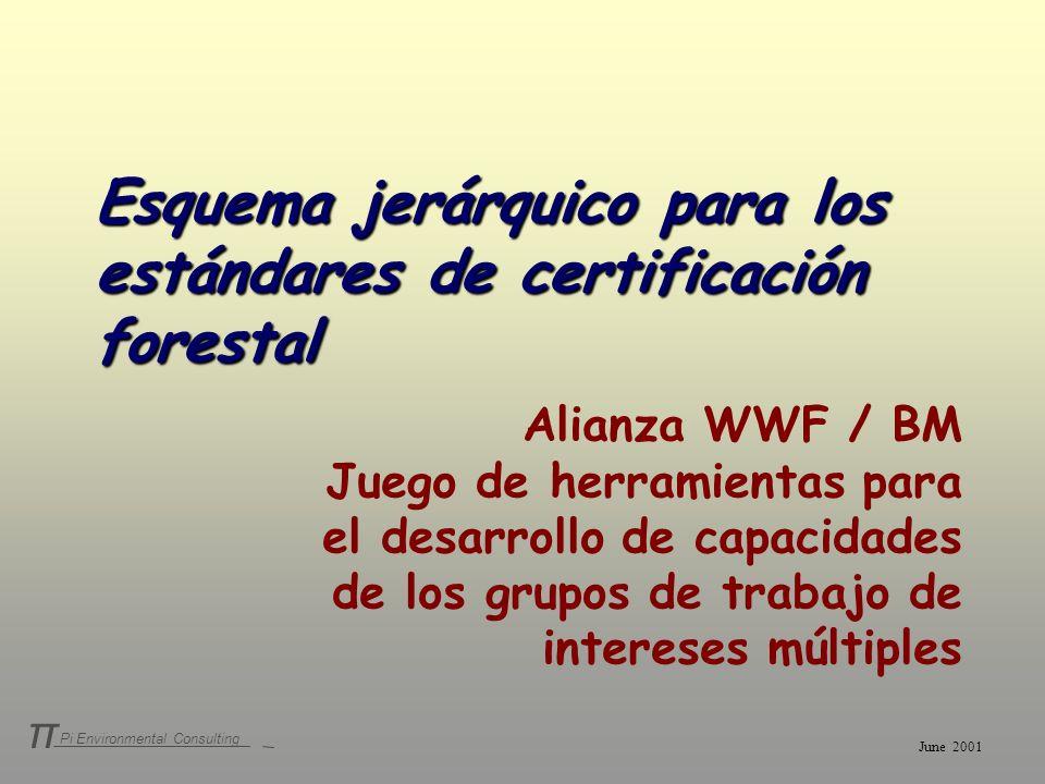 Pi Environmental Consulting π Esquema jerárquico para los estándares de certificación forestal Alianza WWF / BM Juego de herramientas para el desarrol
