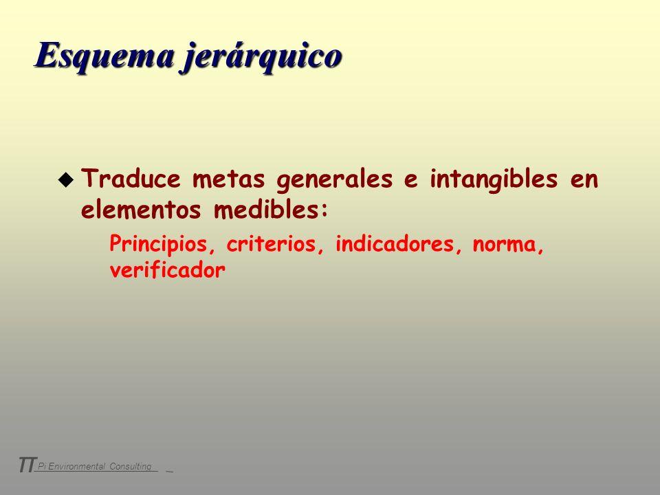 Pi Environmental Consulting π Esquema jerárquico u Traduce metas generales e intangibles en elementos medibles: Principios, criterios, indicadores, no