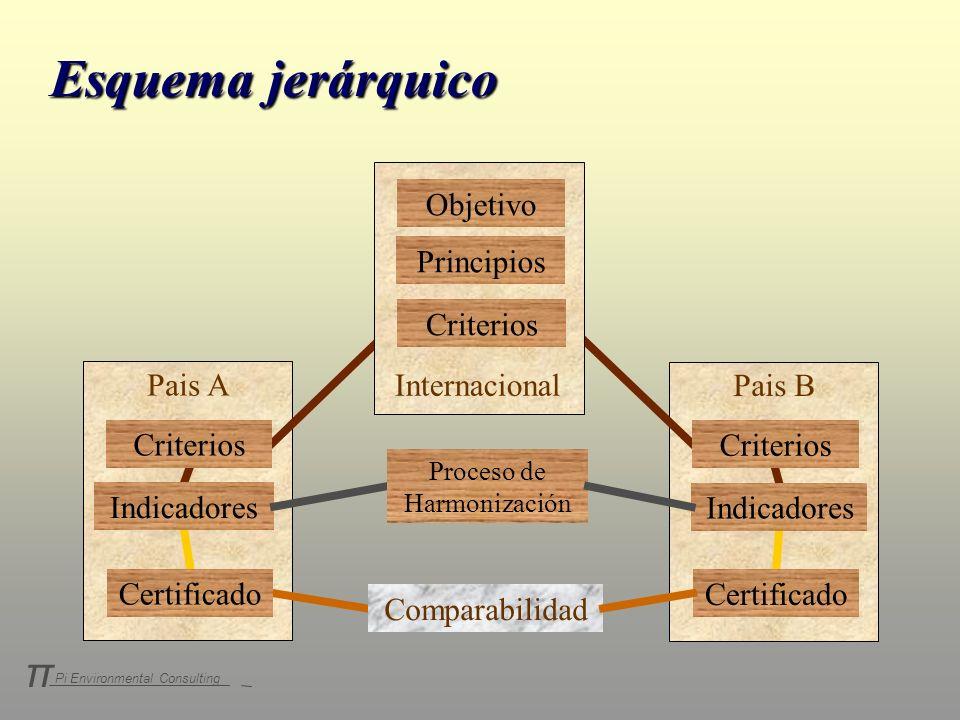 Pi Environmental Consulting π Objetivo Principios Criterios Indicadores Certificado Pais A Criterios Indicadores Certificado Pais B Internacional Comp