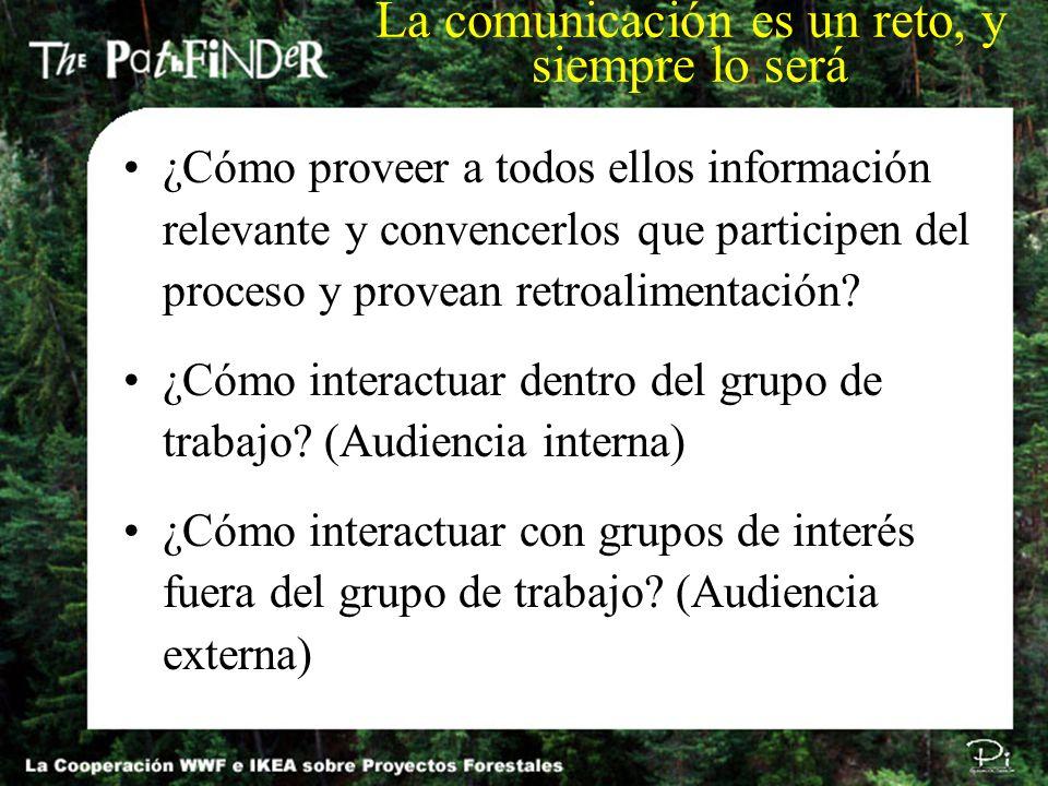 ¿Cómo proveer a todos ellos información relevante y convencerlos que participen del proceso y provean retroalimentación? ¿Cómo interactuar dentro del