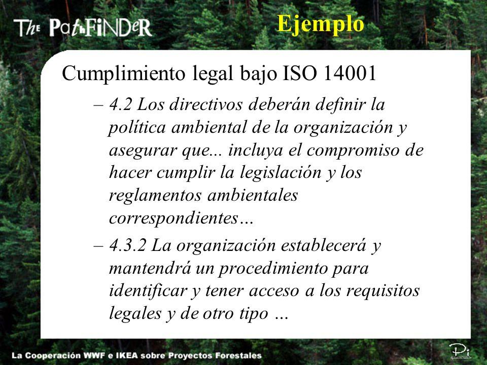 –4.2 Los directivos deberán definir la política ambiental de la organización y asegurar que... incluya el compromiso de hacer cumplir la legislación y