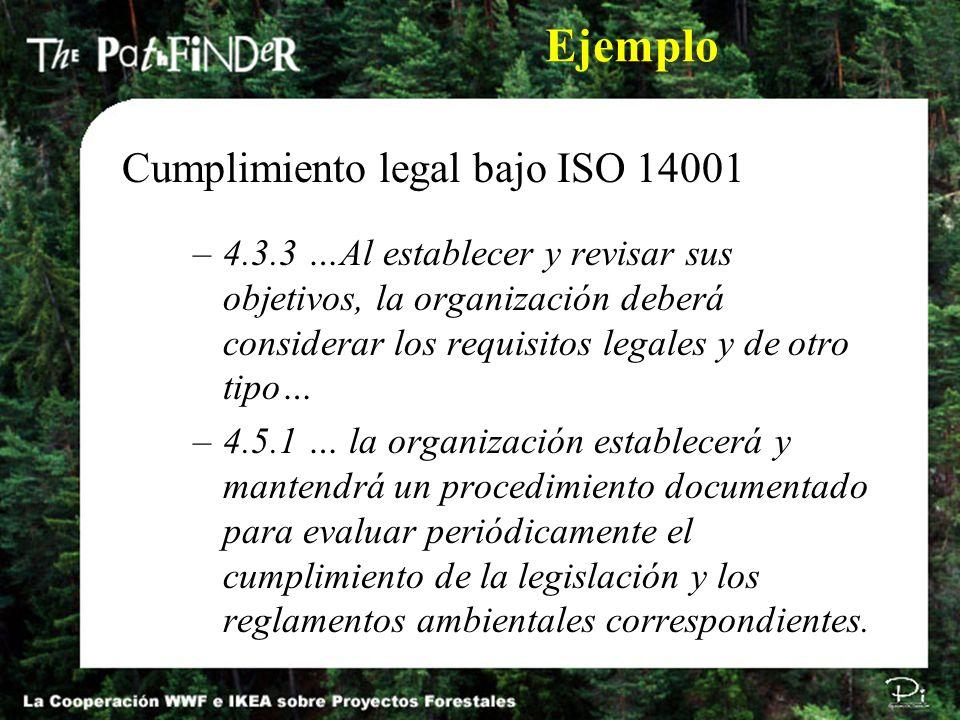 –4.3.3 …Al establecer y revisar sus objetivos, la organización deberá considerar los requisitos legales y de otro tipo… –4.5.1 … la organización estab