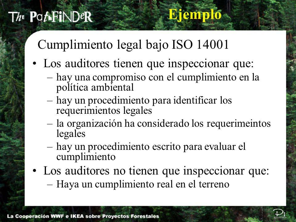 Los auditores tienen que inspeccionar que: –hay una compromiso con el cumplimiento en la política ambiental –hay un procedimiento para identificar los