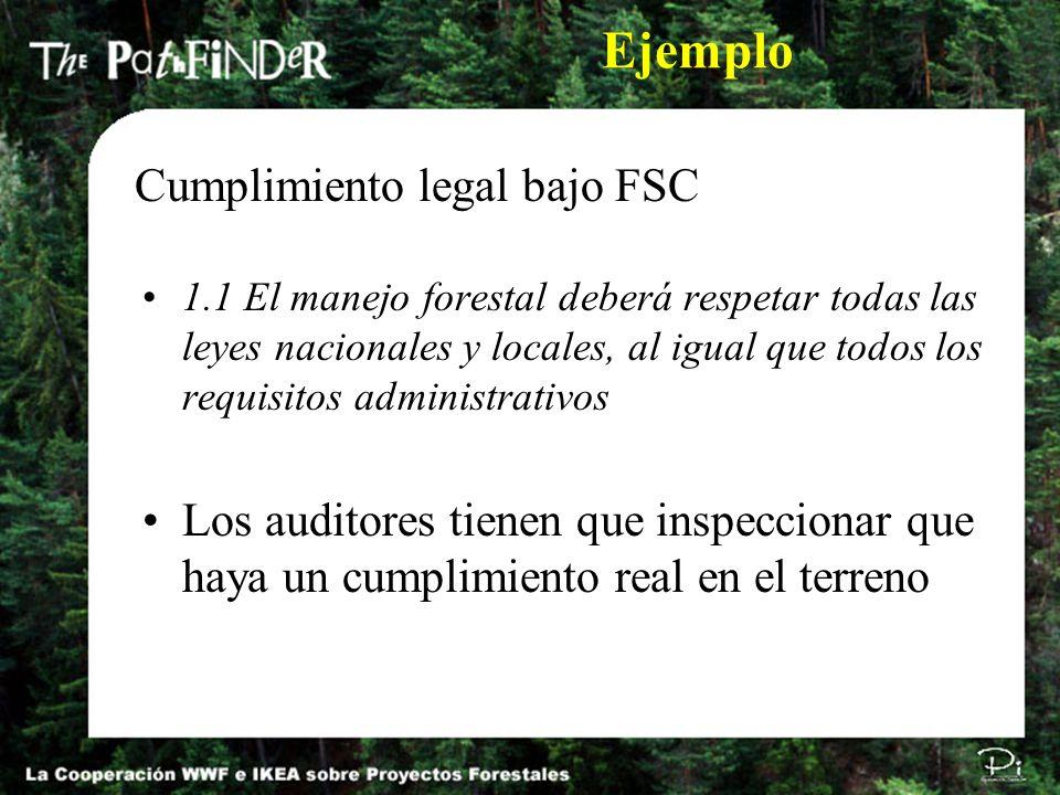 1.1 El manejo forestal deberá respetar todas las leyes nacionales y locales, al igual que todos los requisitos administrativos Los auditores tienen qu