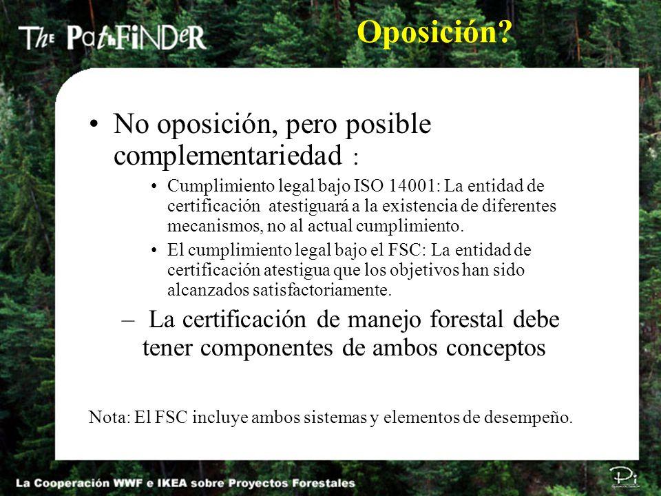 No oposición, pero posible complementariedad : Cumplimiento legal bajo ISO 14001: La entidad de certificación atestiguará a la existencia de diferente