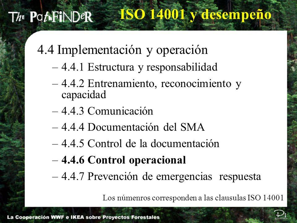 4.4 Implementación y operación –4.4.1 Estructura y responsabilidad –4.4.2 Entrenamiento, reconocimiento y capacidad –4.4.3 Comunicación –4.4.4 Documen