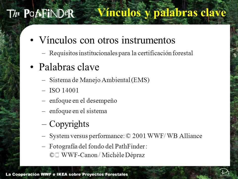 Vínculos y palabras clave Vínculos con otros instrumentos –Requisitos institucionales para la certificación forestal Palabras clave –Sistema de Manejo