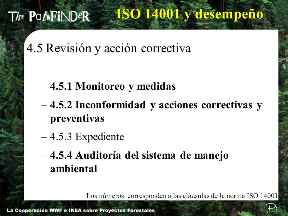 4.5 Revisión y acción correctiva –4.5.1 Monitoreo y medidas –4.5.2 Inconformidad y acciones correctivas y preventivas –4.5.3 Expediente –4.5.4 Auditor