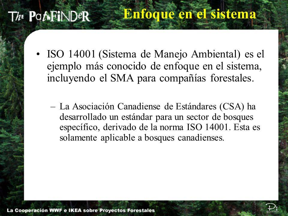 ISO 14001 (Sistema de Manejo Ambiental) es el ejemplo más conocido de enfoque en el sistema, incluyendo el SMA para compañías forestales. –La Asociaci