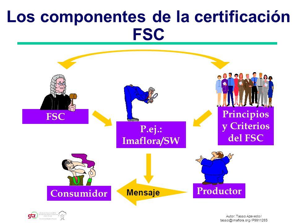 Autor: Tasso Azevedo / tasso@imaflora.org / P991126S Los componentes de la certificación FSC FSC P.ej.: Imaflora/SW Productor Consumidor Principios y Criterios del FSC Mensaje