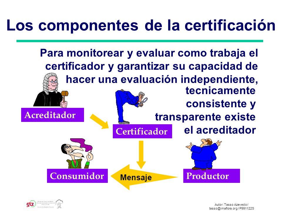 Autor: Tasso Azevedo / tasso@imaflora.org / P991123S Certificador ProductorConsumidor Estándares Mensaje El certificador evalua la operación forestal frente a los estándares reconocidos internacionalmente.