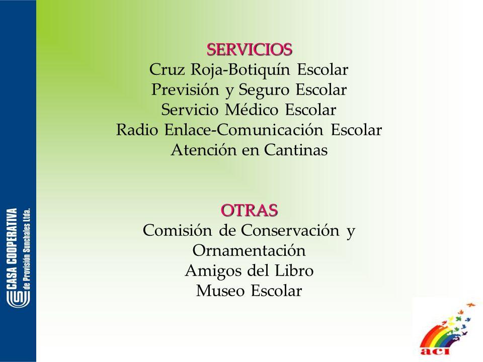 SERVICIOS Cruz Roja-Botiquín Escolar Previsión y Seguro Escolar Servicio Médico Escolar Radio Enlace-Comunicación Escolar Atención en CantinasOTRAS Co