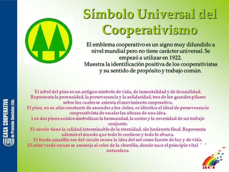 Símbolo Universal del Cooperativismo El emblema cooperativo es un signo muy difundido a nivel mundial pero no tiene carácter universal. Se empezó a ut