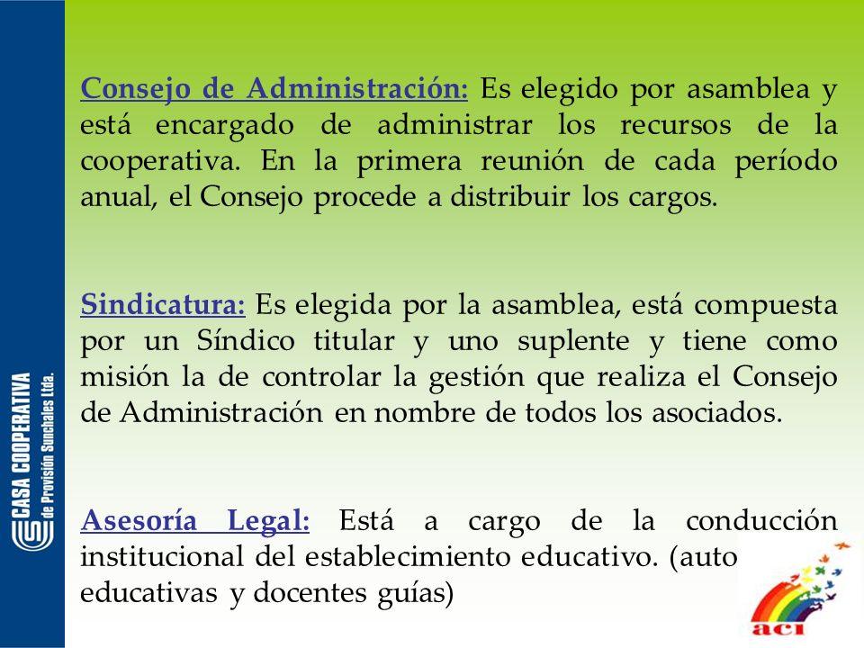 Consejo de Administración: Es elegido por asamblea y está encargado de administrar los recursos de la cooperativa. En la primera reunión de cada perío